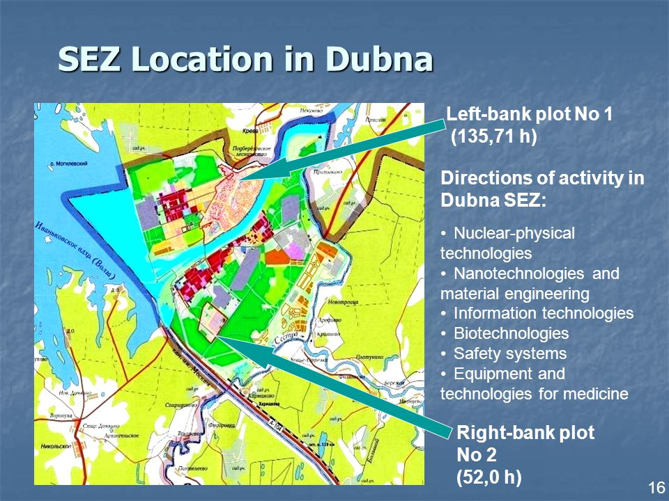 16 SEZ Location in Dubna Left-bank plot No 1 (135,71 h) Right-bank plot No 2 (52,0 h) Directions of activity in Dubna SEZ: Nuclear-physical technologies Nanotechnologies and material engineering Information technologies Biotechnologies Safety systems Equipment and technologies for medicine