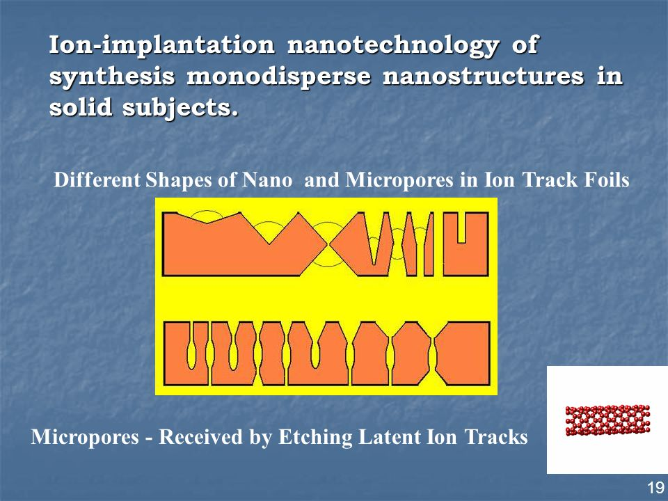 19 Ion-implantation nanotechnology of synthesis monodisperse nanostructures in solid subjects.