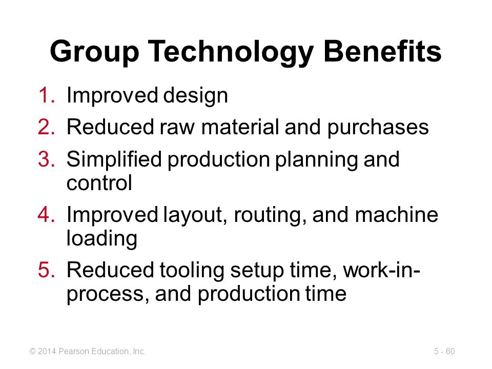 5 - 60© 2014 Pearson Education, Inc. 1.Improved design 2.Reduced raw material and purchases 3.Simplified production planning and control 4.Improved la