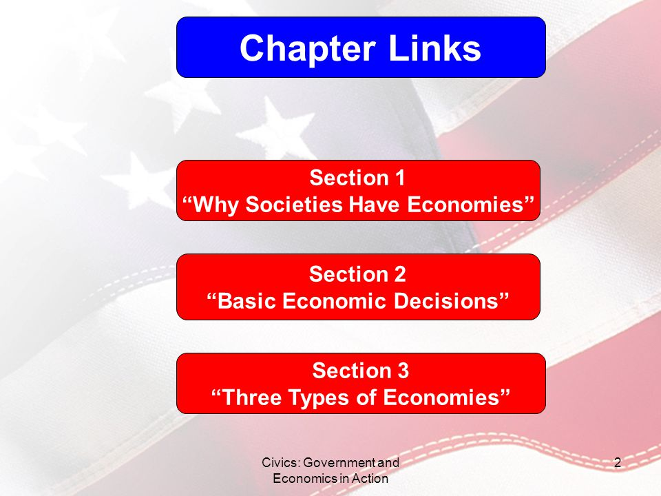 Civics: Government and Economics in Action 2 Chapter Links Section 1 Why Societies Have Economies Section 2 Basic Economic Decisions Section 3 Three T