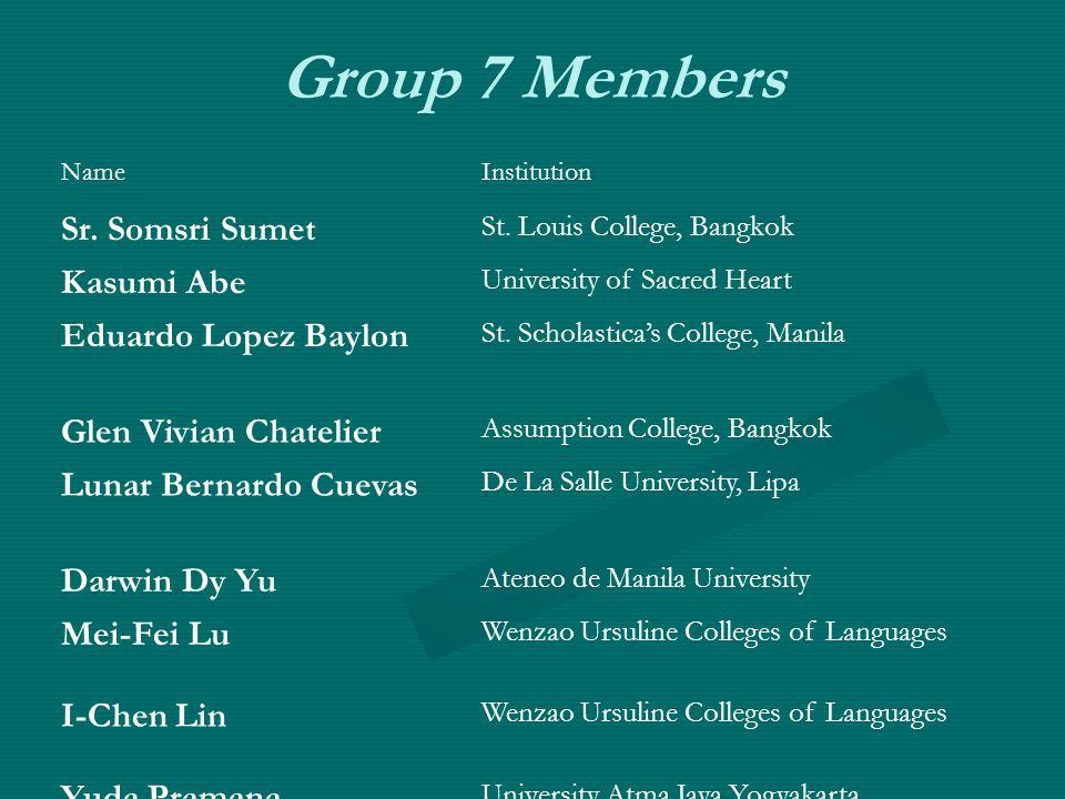 Group 7 Members NameInstitution Sr. Somsri Sumet St.