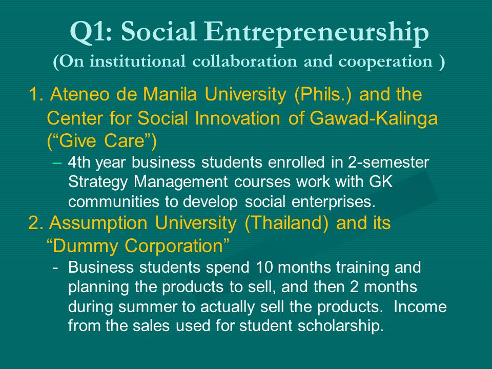 Q1: Social Entrepreneurship (On institutional collaboration and cooperation ) 1.