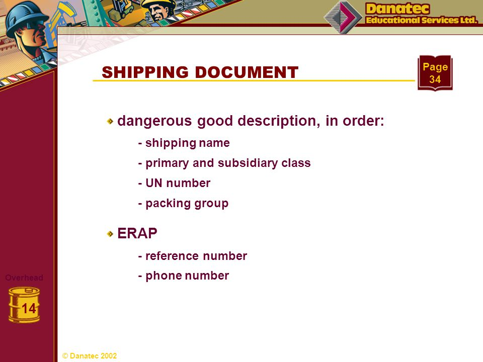 SHIPPING DOCUMENT Overhead 14 Page 34 dangerous good description, in order: ERAP - shipping name - primary and subsidiary class - UN number - packing