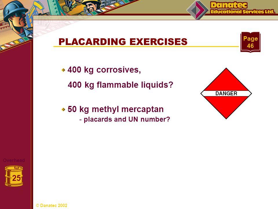 PLACARDING EXERCISES Overhead 25 Page 46 400 kg corrosives, 400 kg flammable liquids? 50 kg methyl mercaptan - placards and UN number? © Danatec 2002