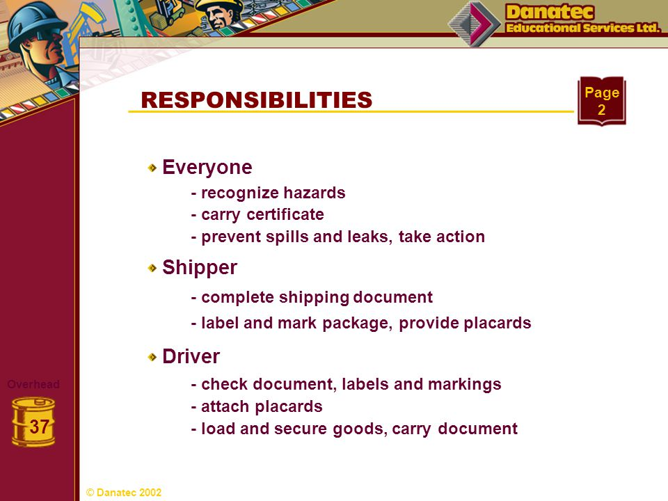RESPONSIBILITIES Overhead 37 Page 2 Everyone Shipper Driver - recognize hazards - complete shipping document - carry certificate - prevent spills and