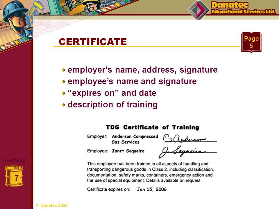 CERTIFICATE Overhead 7 Page 5 employers name, address, signature employees name and signature expires on and date description of training © Danatec 20