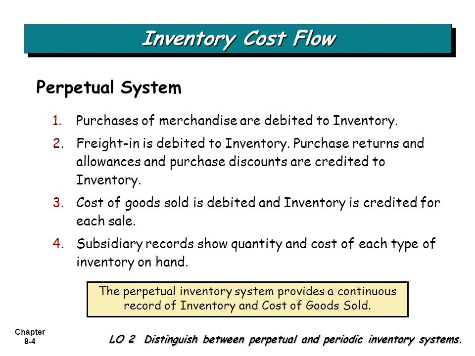 Chapter 8-4 Inventory Cost Flow LO 2 Distinguish between perpetual and periodic inventory systems. Perpetual System 1.Purchases of merchandise are deb