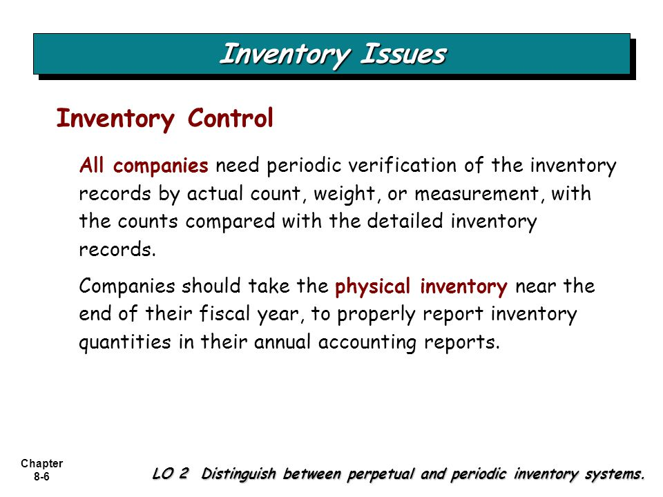 Chapter 8-7 Basic Issues in Inventory Valuation LO 2 Distinguish between perpetual and periodic inventory systems.