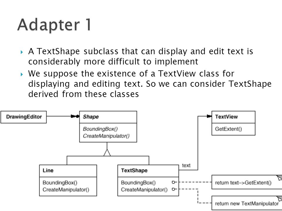 A TextShape subclass that can display and edit text is considerably more difficult to implement We suppose the existence of a TextView class for displaying and editing text.