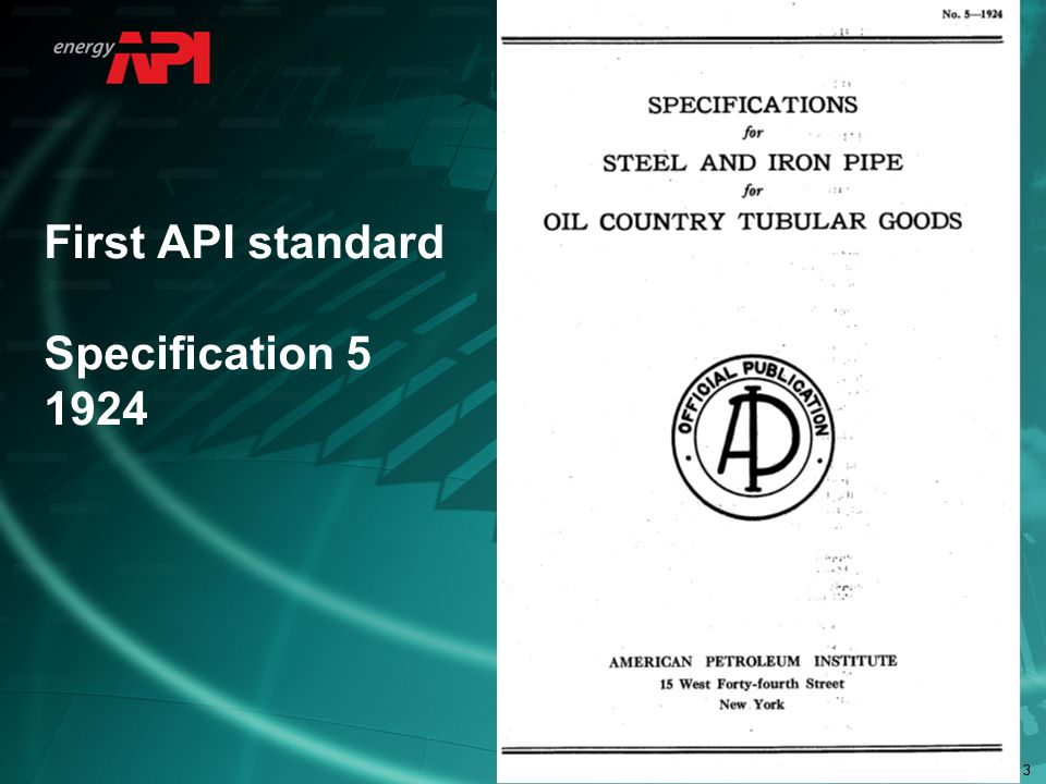 33 First API standard Specification 5 1924