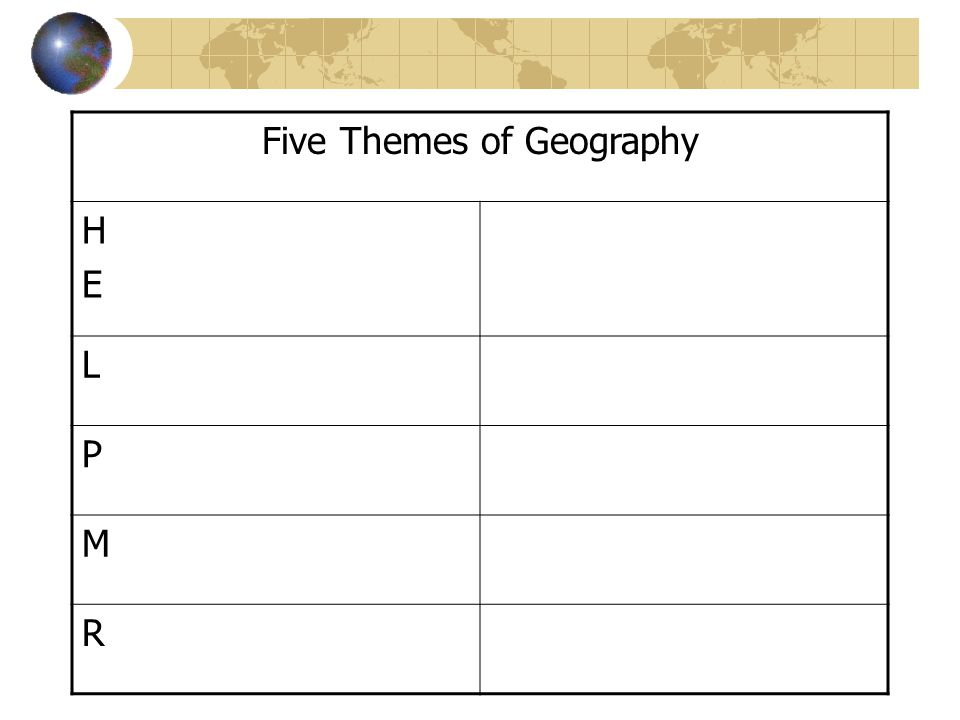 Five Themes of Geography HEHE L P M R