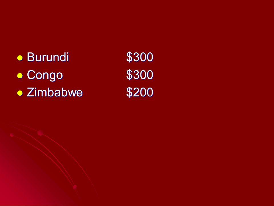 Burundi$300 Burundi$300 Congo$300 Congo$300 Zimbabwe$200 Zimbabwe$200