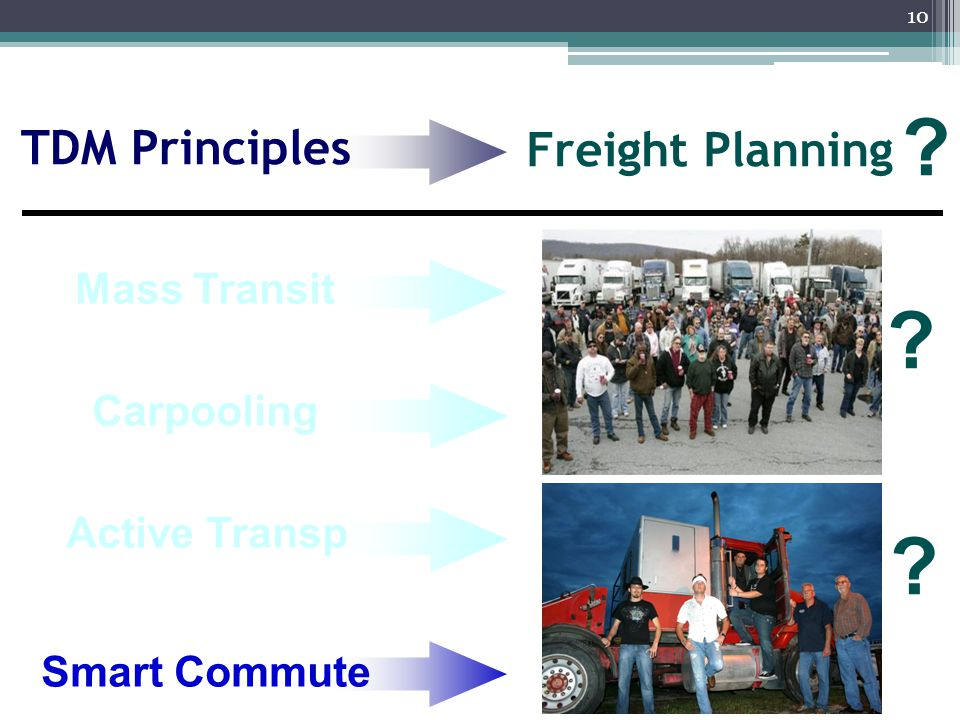 10 TDM Principles Carpooling Smart Commute Freight Planning Active Transp Mass Transit