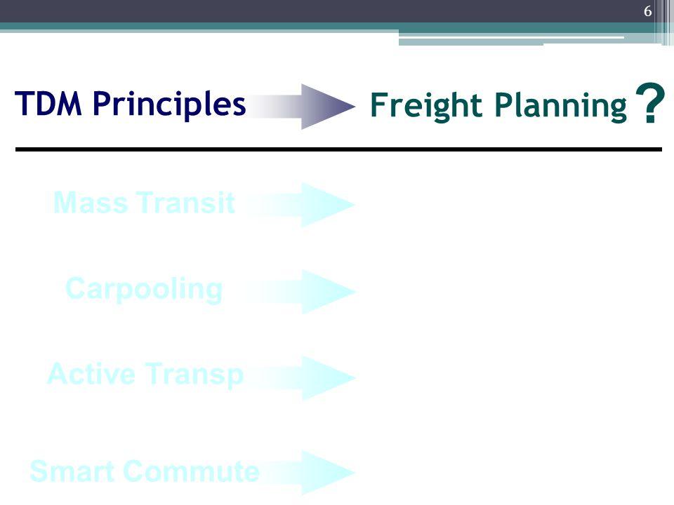 6 Freight Planning TDM Principles ? Carpooling Smart Commute Active Transp Mass Transit