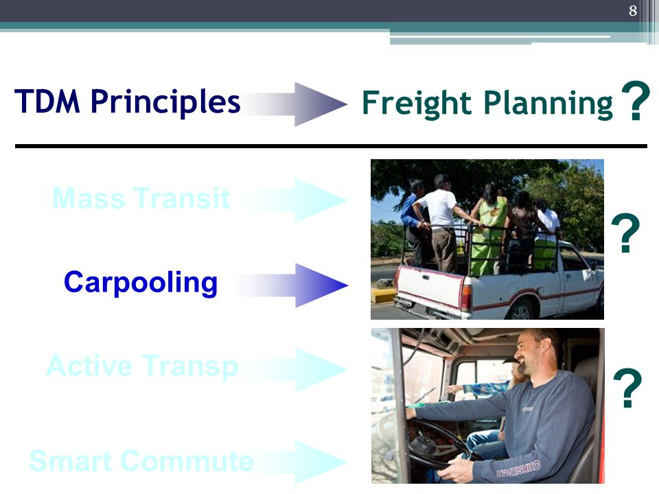 9 Carpooling Smart Commute Freight Planning ? Active Transp ? ? Mass Transit