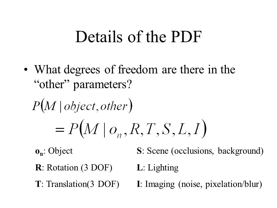 Details of the PDF What degrees of freedom are there in the other parameters.