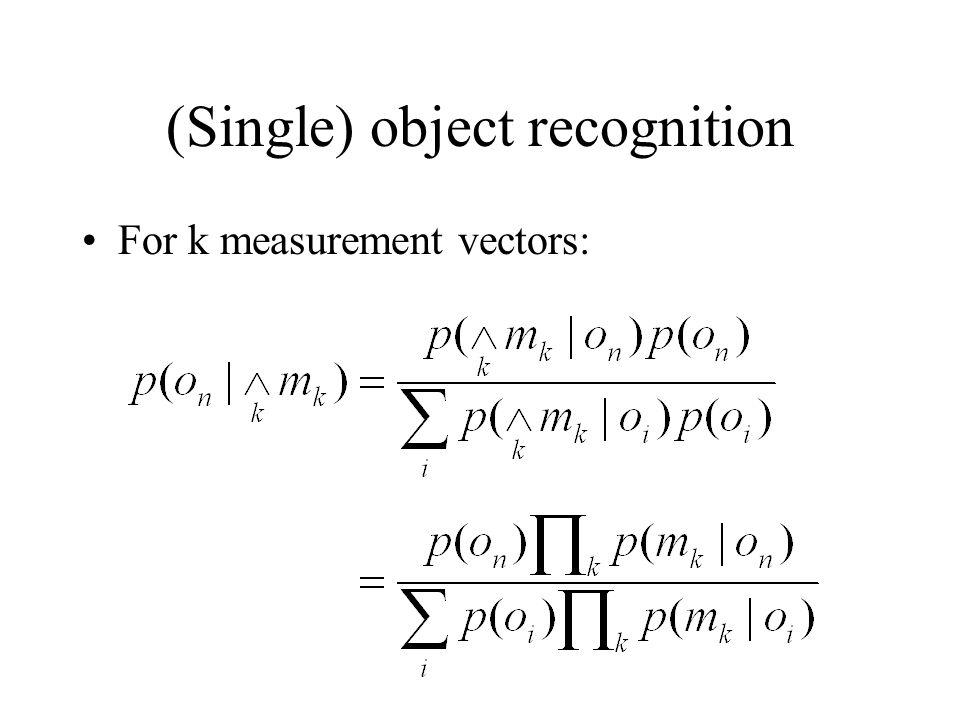 (Single) object recognition For k measurement vectors: