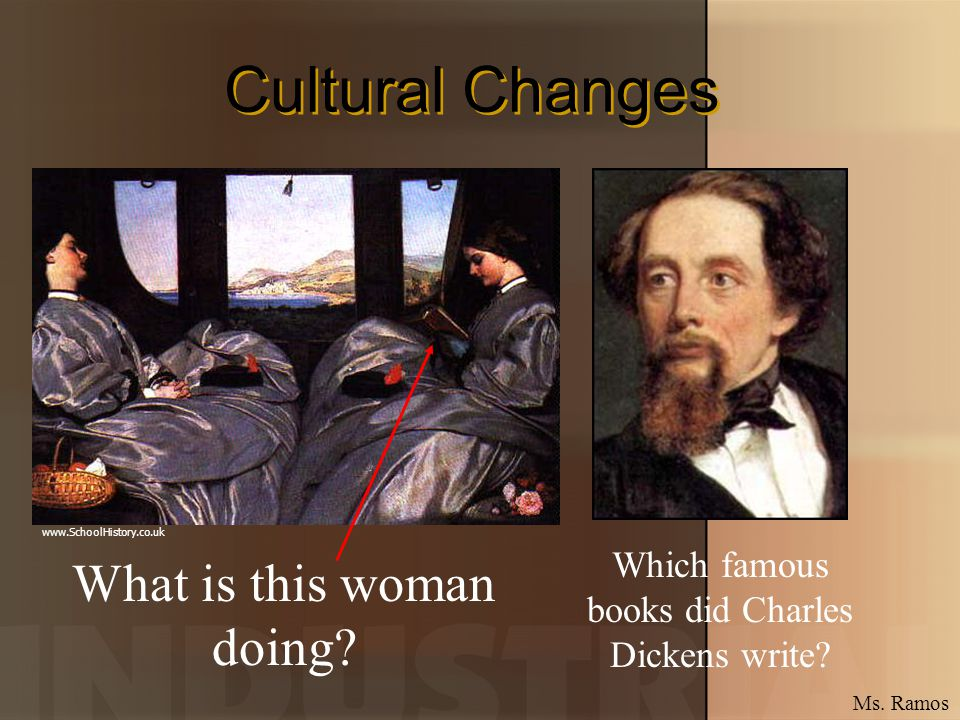 Cultural Changes What is this woman doing? Which famous books did Charles Dickens write? www.SchoolHistory.co.uk Ms. Ramos