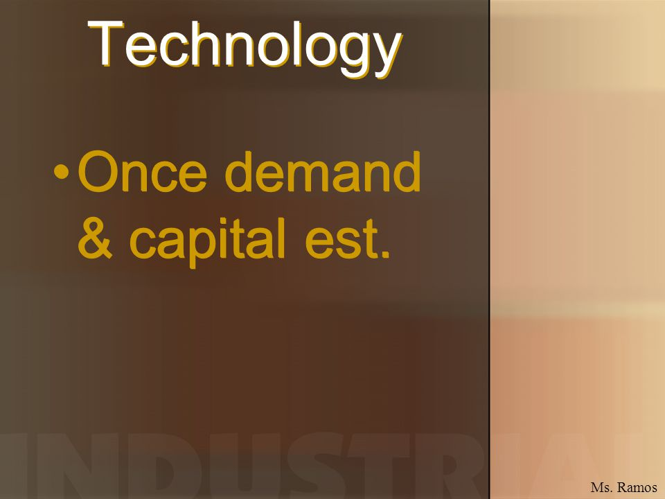 Technology Once demand & capital est. Ms. Ramos