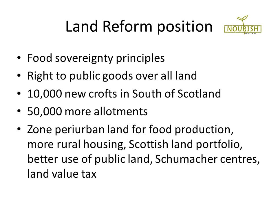 Food sovereignty Focuses on food for people Values food providers Localises food systems Makes decisions locally Builds knowledge and skills Works with nature
