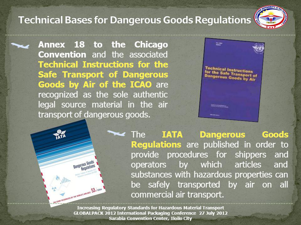 Annex 18 to the Chicago Convention and the associated Technical Instructions for the Safe Transport of Dangerous Goods by Air of the ICAO are recogniz