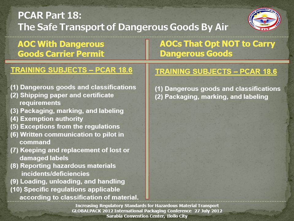 AOC With Dangerous Goods Carrier Permit Increasing Regulatory Standards for Hazardous Material Transport GLOBALPACK 2012 International Packaging Confe