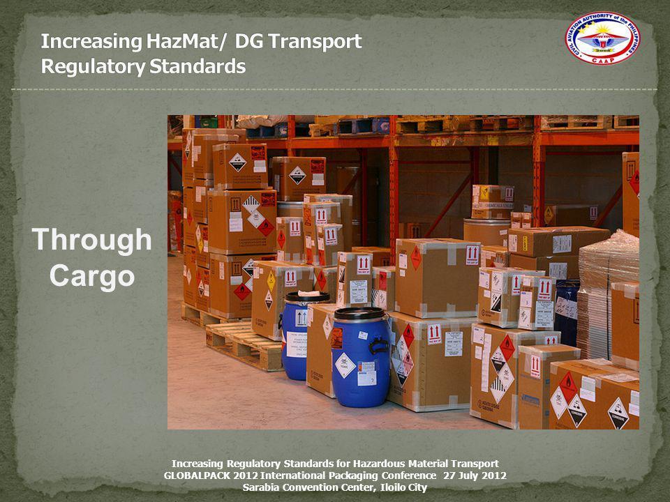 Through Cargo Increasing Regulatory Standards for Hazardous Material Transport GLOBALPACK 2012 International Packaging Conference 27 July 2012 Sarabia