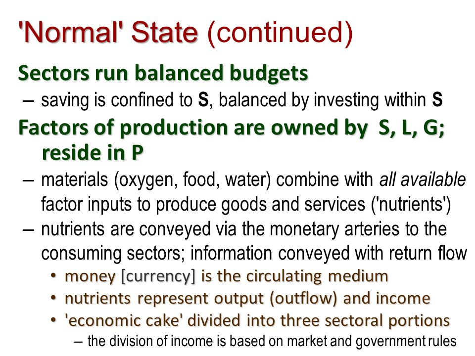 Normal State Normal State (continued) Sectors run balanced budgets – saving is confined to S, balanced by investing within S Factors of production are owned by S, L, G; reside in P – materials (oxygen, food, water) combine with all available factor inputs to produce goods and services ( nutrients ) – nutrients are conveyed via the monetary arteries to the consuming sectors; information conveyed with return flow money [currency] is the circulating medium money [currency] is the circulating medium nutrients represent output (outflow) and income nutrients represent output (outflow) and income economic cake divided into three sectoral portions economic cake divided into three sectoral portions – the division of income is based on market and government rules