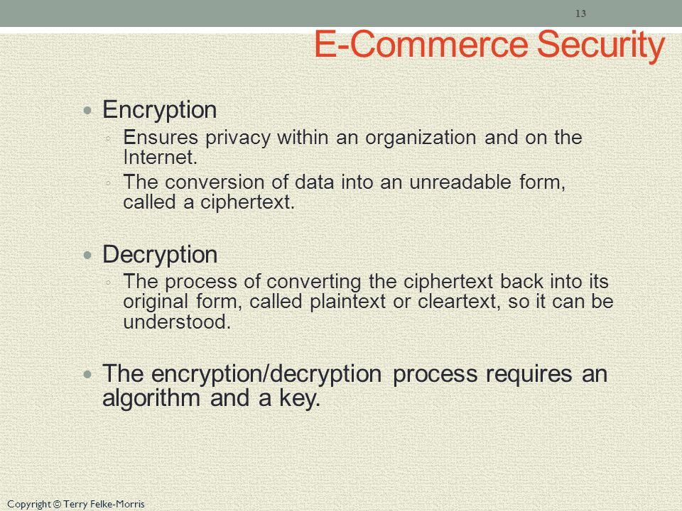 Copyright © Terry Felke-Morris E-Commerce Security Encryption Ensures privacy within an organization and on the Internet.