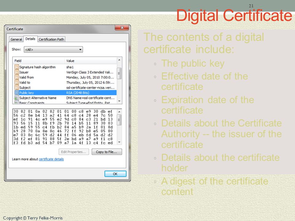 Copyright © Terry Felke-Morris Digital Certificate The contents of a digital certificate include: The public key Effective date of the certificate Expiration date of the certificate Details about the Certificate Authority -- the issuer of the certificate Details about the certificate holder A digest of the certificate content 21