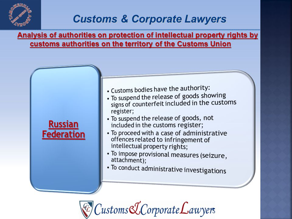 Analysis of authorities on protection of intellectual property rights by customs authorities on the territory of the Customs Union Customs & Corporate Lawyers
