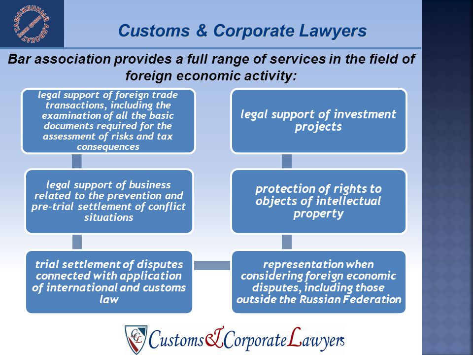 legal support of foreign trade transactions, including the examination of all the basic documents required for the assessment of risks and tax consequences legal support of business related to the prevention and pre-trial settlement of conflict situations trial settlement of disputes connected with application of international and customs law representation when considering foreign economic disputes, including those outside the Russian Federation protection of rights to objects of intellectual property legal support of investment projects Bar association provides a full range of services in the field of foreign economic activity: Customs & Corporate Lawyers