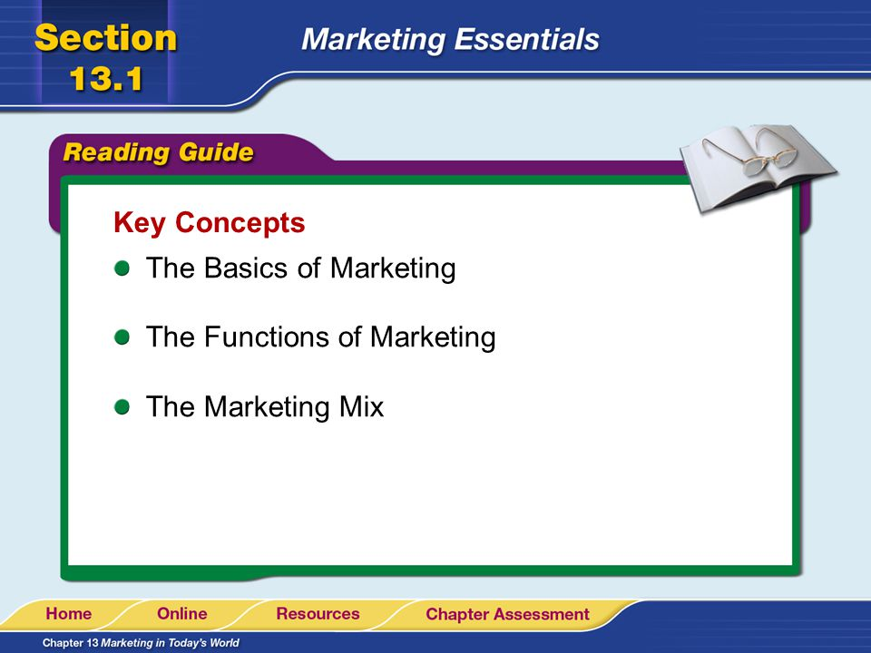 Key Concepts The Basics of Marketing The Functions of Marketing The Marketing Mix