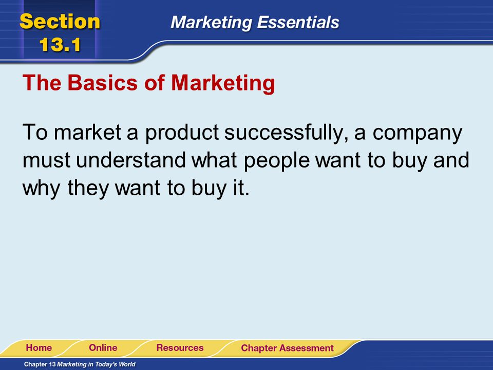 The Basics of Marketing A company must know the market.