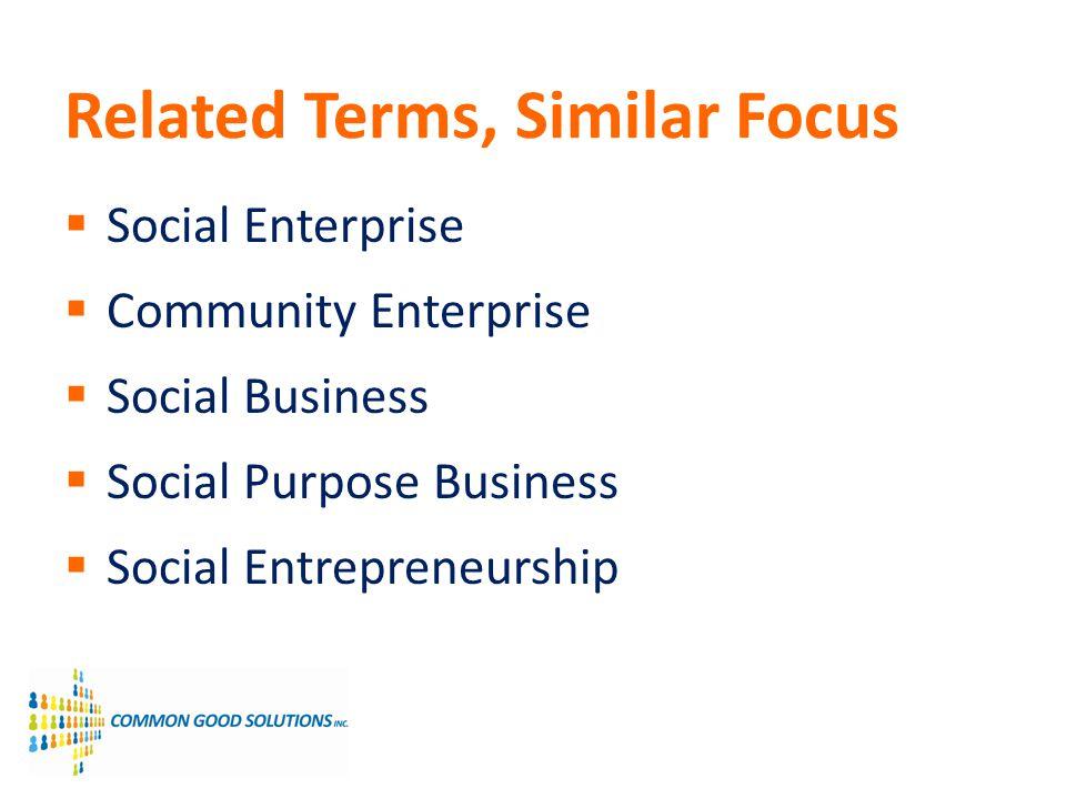 Related Terms, Similar Focus Social Enterprise Community Enterprise Social Business Social Purpose Business Social Entrepreneurship