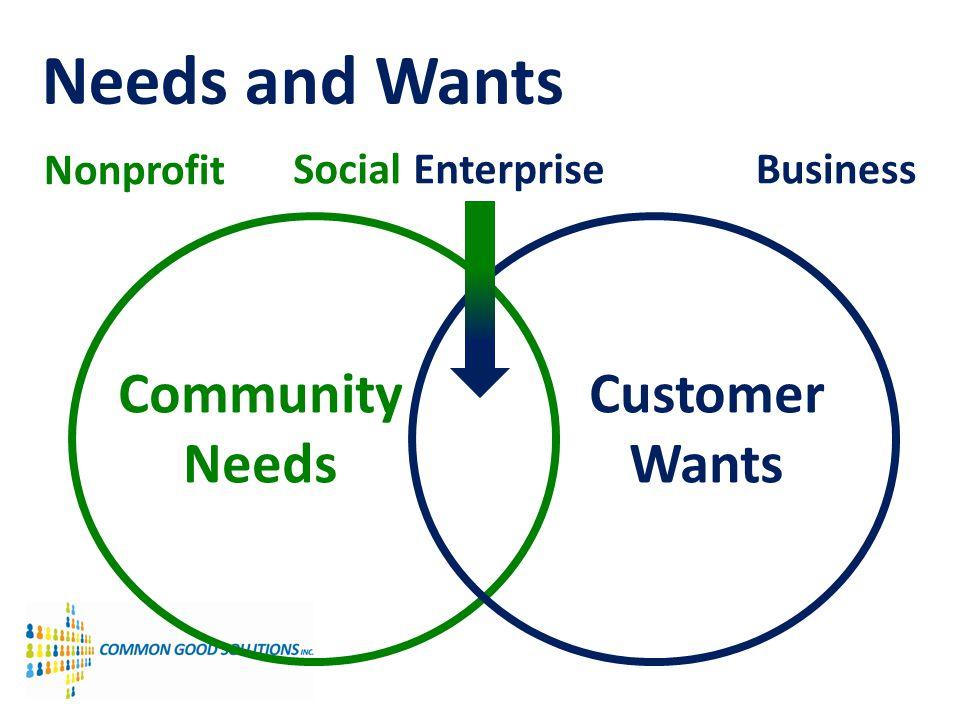 Needs and Wants Nonprofit Social EnterpriseBusiness Community Needs Customer Wants