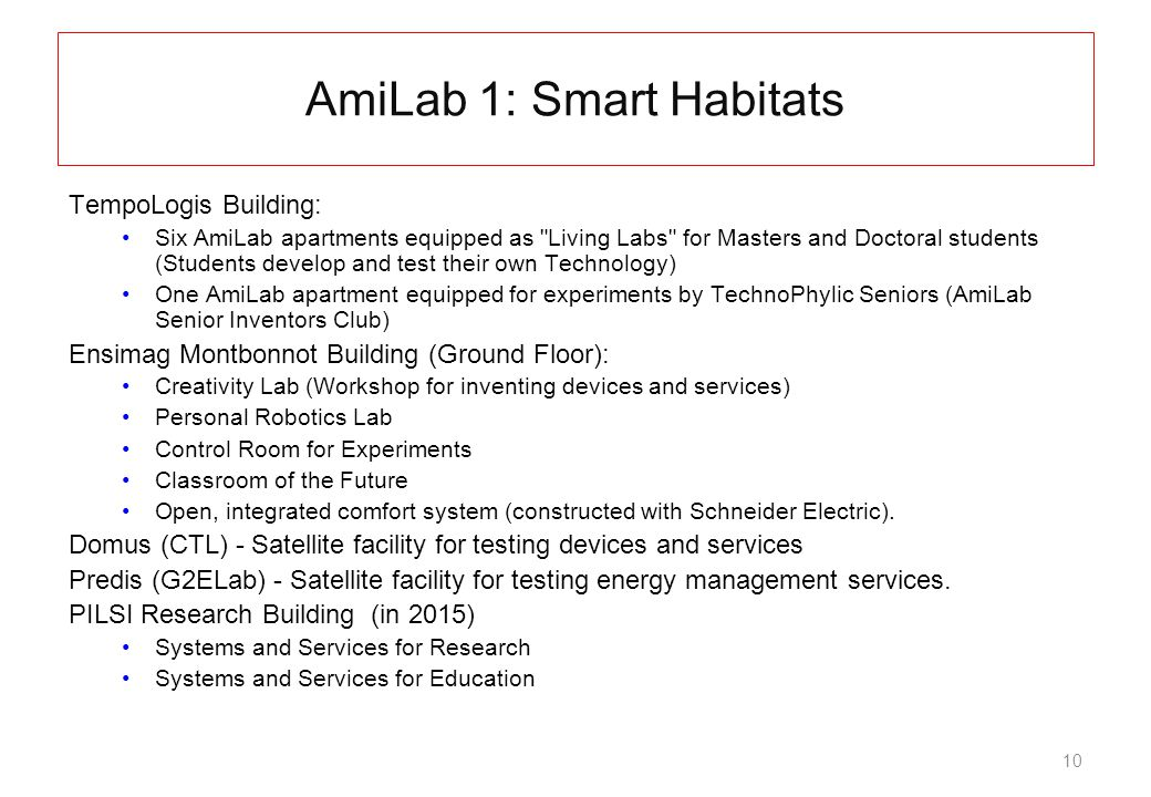 10 AmiLab 1: Smart Habitats TempoLogis Building: Six AmiLab apartments equipped as Living Labs for Masters and Doctoral students (Students develop and test their own Technology) One AmiLab apartment equipped for experiments by TechnoPhylic Seniors (AmiLab Senior Inventors Club) Ensimag Montbonnot Building (Ground Floor): Creativity Lab (Workshop for inventing devices and services) Personal Robotics Lab Control Room for Experiments Classroom of the Future Open, integrated comfort system (constructed with Schneider Electric).