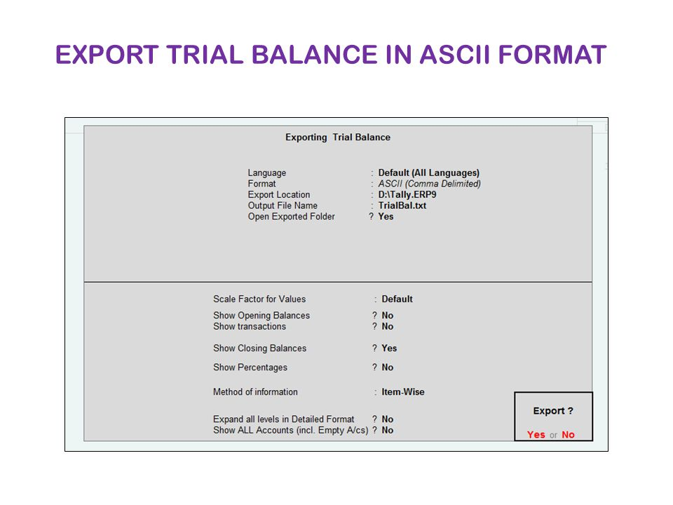 EXPORT TRIAL BALANCE IN ASCII FORMAT