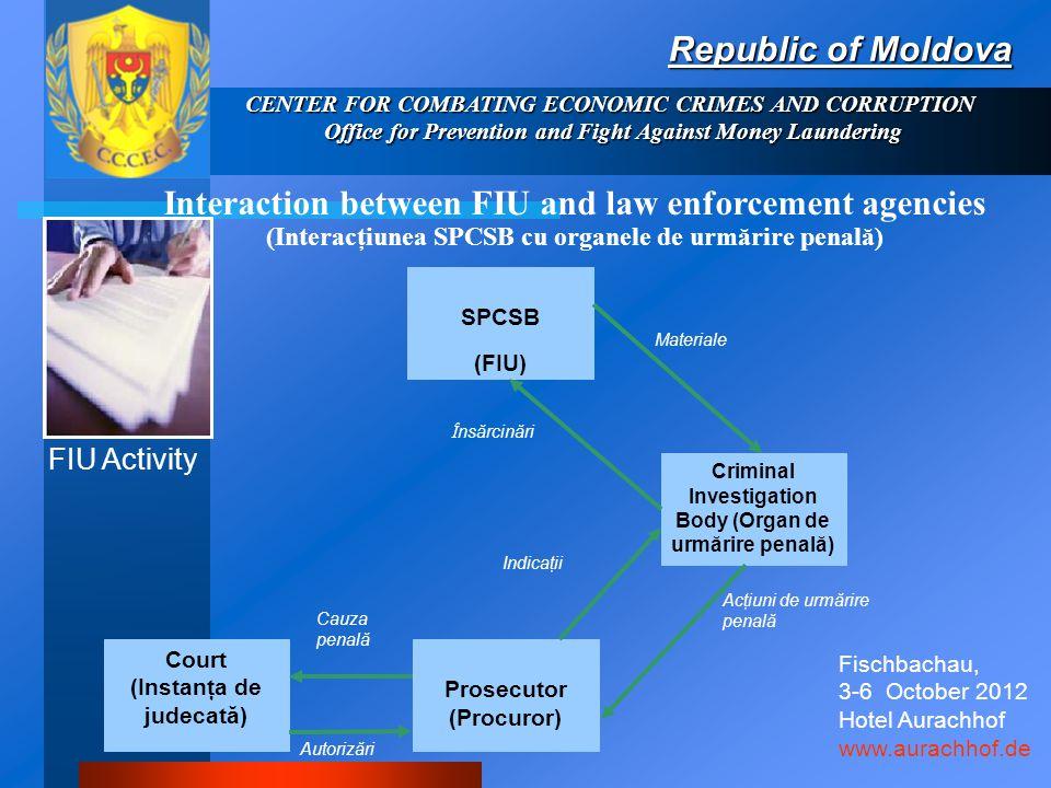 Interaction between FIU and law enforcement agencies (Interacţiunea SPCSB cu organele de urmărire penală) Republic of Moldova Cauza penală Autorizări Acţiuni de urmărire penală Indicaţii Î nsărcinări Materiale SPCSB (FIU) Court (Instanţa de judecată) Criminal Investigation Body (Organ de urmărire penală) Prosecutor (Procuror) FIU Activity CENTER FOR COMBATING ECONOMIC CRIMES AND CORRUPTION Office for Prevention and Fight Against Money Laundering Fischbachau, 3-6 October 2012 Hotel Aurachhof www.aurachhof.de