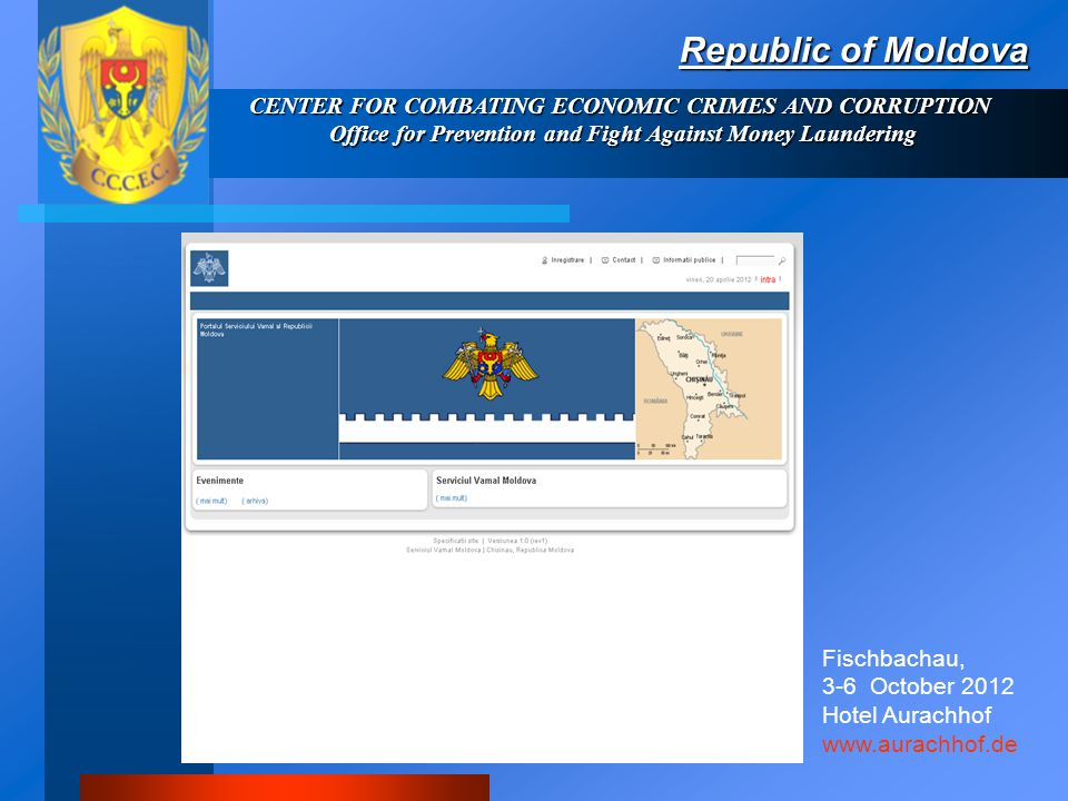 Republic of Moldova CENTER FOR COMBATING ECONOMIC CRIMES AND CORRUPTION Office for Prevention and Fight Against Money Laundering Criminal code Article 106.