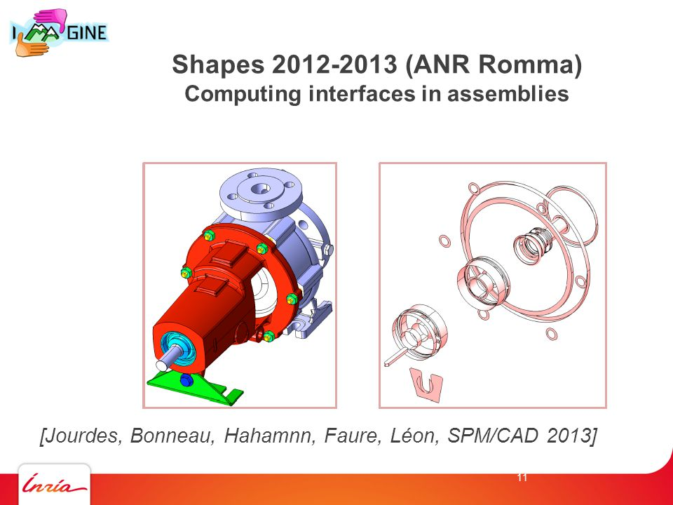 Shapes 2012-2013 (ANR Romma) Computing interfaces in assemblies [Jourdes, Bonneau, Hahamnn, Faure, Léon, SPM/CAD 2013] 11