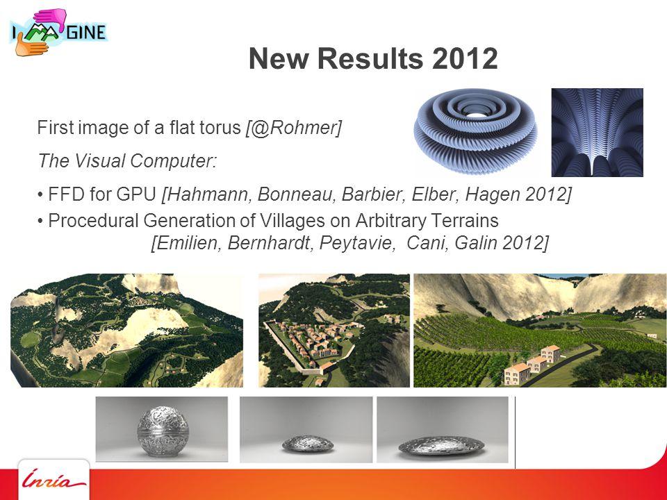 New Results 2012 First image of a flat torus [@Rohmer] The Visual Computer: FFD for GPU [Hahmann, Bonneau, Barbier, Elber, Hagen 2012] Procedural Generation of Villages on Arbitrary Terrains [Emilien, Bernhardt, Peytavie, Cani, Galin 2012]