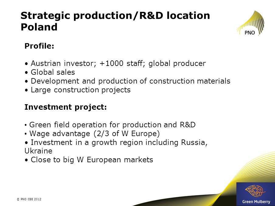 Strategic production/R&D location Poland © PNO CEE 2012 10 Profile: Austrian investor; +1000 staff; global producer Global sales Development and produ