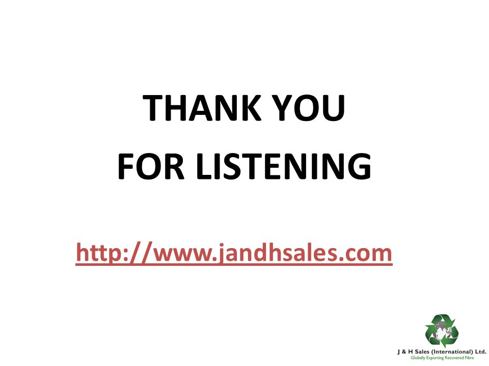 http://www.jandhsales.com THANK YOU FOR LISTENING
