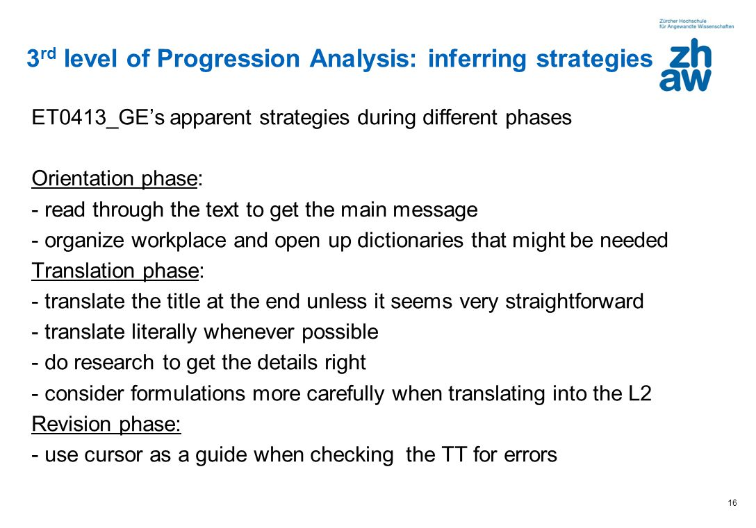 ET0413_GEs apparent strategies during different phases Orientation phase: - read through the text to get the main message - organize workplace and ope