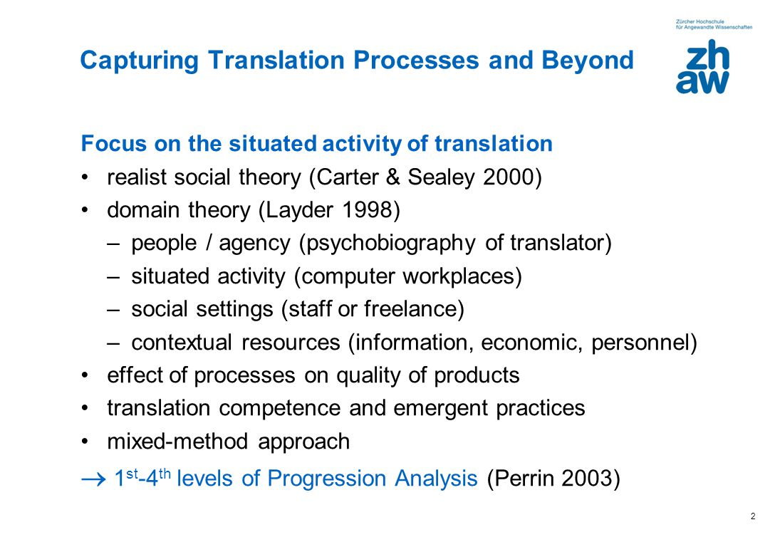 2 Capturing Translation Processes and Beyond Focus on the situated activity of translation realist social theory (Carter & Sealey 2000) domain theory