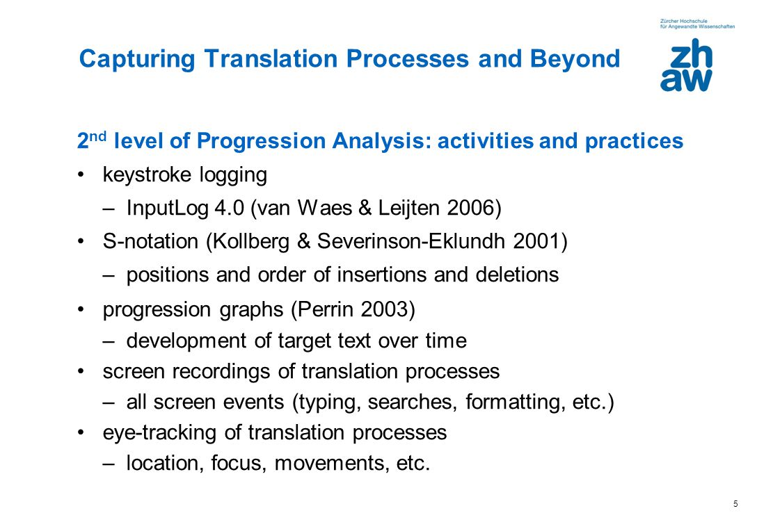5 2 nd level of Progression Analysis: activities and practices keystroke logging –InputLog 4.0 (van Waes & Leijten 2006) S-notation (Kollberg & Severi