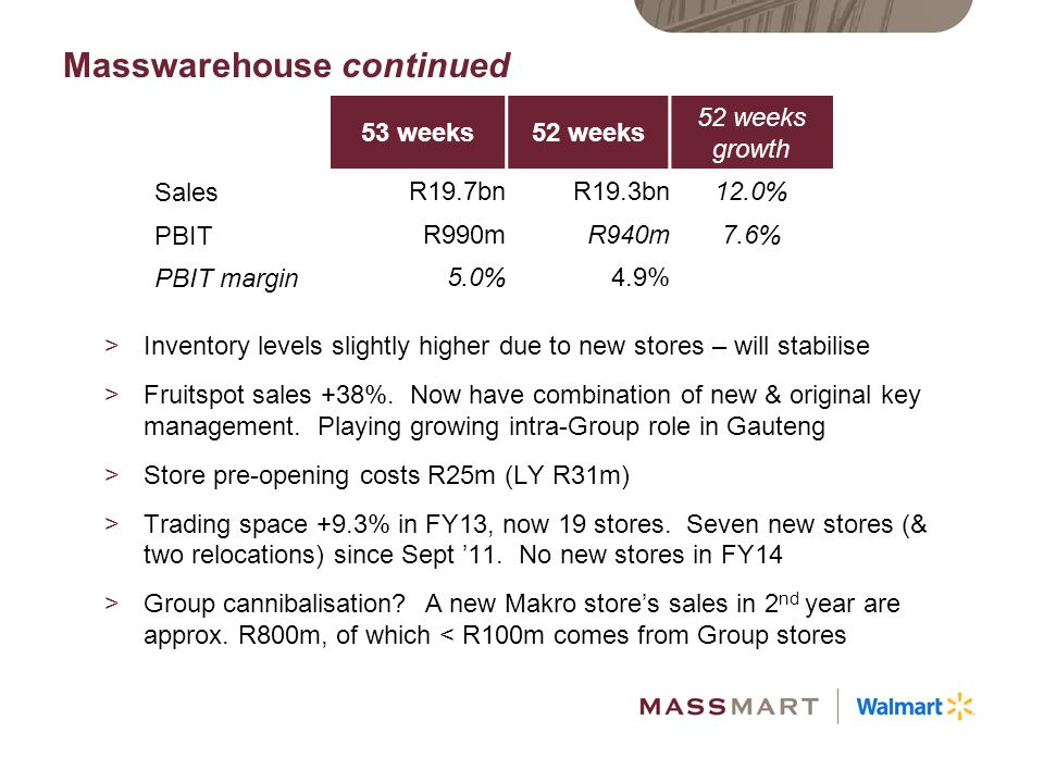 Masswarehouse Strategic Plans >Get new stores to trading maturity >Widen Baby category >Enhance Food Retail offering >Commercial customers >Online: B2B & B2C >Supply Chain & Inventory optimisation >Leverage CRM