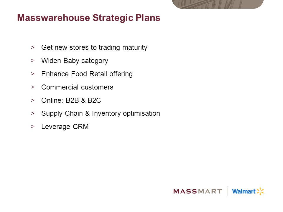 >Underlying profit performance -7% >Strong performances from Massbuild and Masswarehouse >Tough trading environment for Wholesale >With hindsight, MDD ended better than expected in a weak market >Balance sheet and cashflows strong >Investments in Food Retail and Supply Chain started to realise value >Successful store openings across SA and Africa >Significant market share gains in Food Retail >Outperformed everyone in Electronics Business Performance Summary year in review