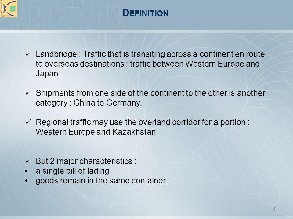 N ORTH A MERICAN DESIGNATIONS 4 main types of landbridges: Landbridge: Using a landmass as a link in a maritime transport chain involving a foreign origin and destination.